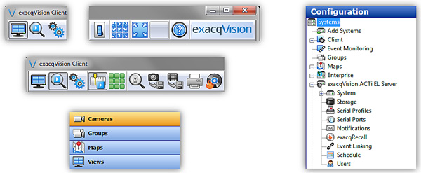 exacqVision 4.11 new GUI elements and icons