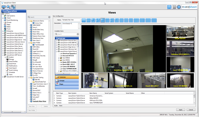 Video Configuration VMS Page