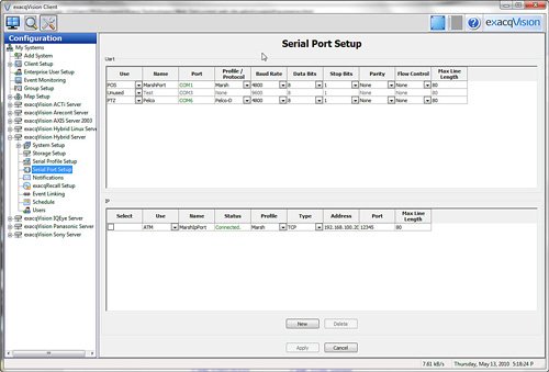 exacqVision 4.1 Seriel Port Setup screen