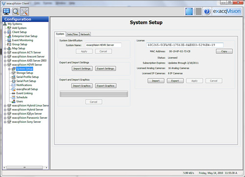 exacqVision system setup screen with import/export graphics