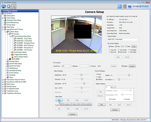 exacqVision 4.4 ACTi privacy mask