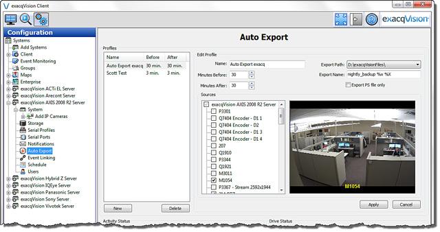 exacqVision 5.0 Auto Export