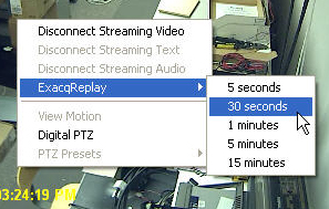 exacqVision client - exacqReplay menu 2